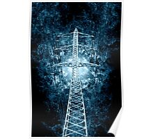 Digitally enhanced image of a High voltage power lines and pylon  Poster