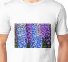 Blue and Purple Delphinium Border Unisex T-Shirt