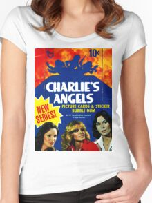 Vintage Charlie's Angels Topps Trading Cards Box Women's Fitted Scoop T-Shirt