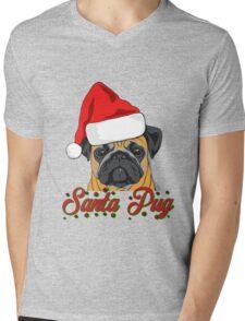 Santa Pug Christmas Design  Mens V-Neck T-Shirt