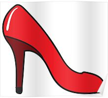 Woman Red Shoes Poster