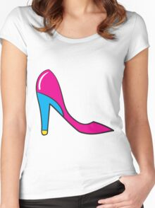 Woman Pink Shoes Women's Fitted Scoop T-Shirt