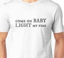 jim morrison the doors rock n roll guitar song light my fire lyrics hippie cool t shirts Unisex T-Shirt