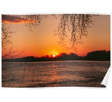 Sunset on River Poster