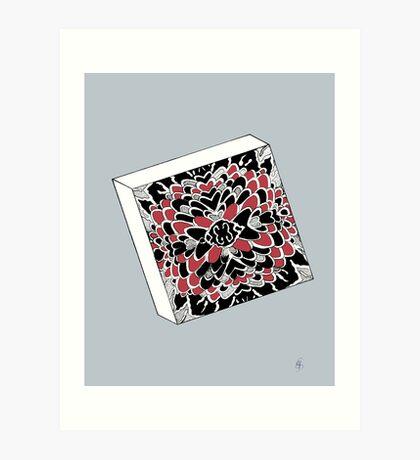 Der Würfel in rot & silber - The dice in red & silver Art Print