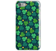 Happy emerald. Green trefoils pattern with coins iPhone Case/Skin