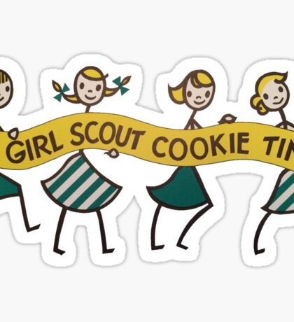 It's Girl Scout Cookie Time Vintage Sign Sticker