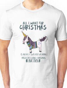 Ugly Sweater Wearing, Mistletoe Eating Christmas Unicorn Unisex T-Shirt