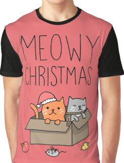 Meowy Christmas Cat Holiday Pun Graphic T-Shirt