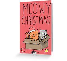 Meowy Christmas Cat Holiday Pun Greeting Card