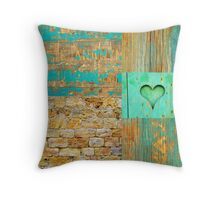 Heart of wood, nature in teal Throw Pillow
