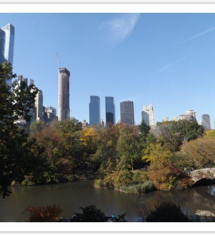 Autumn Colors, Central Park, Bridge, Skyscrapers, New York City Sticker