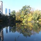Autumn Colors, Central Park, Lake, Skyscrapers, New York City by lenspiro