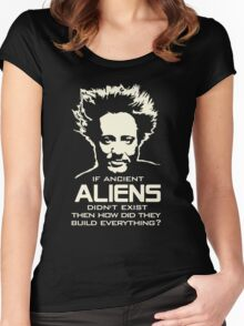 Ancient Aliens build everything Giorgio Tsoukalos Women's Fitted Scoop T-Shirt
