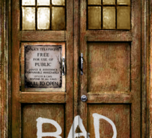 Old Rustic wood Phone box with Bad Wolf typograph Sticker