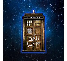 Old Rustic wood Phone box with Bad Wolf typograph Photographic Print