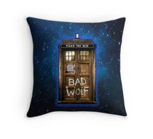 Old Rustic wood Phone box with Bad Wolf typograph Throw Pillow