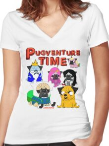 PUGVENTURE TIME Women's Fitted V-Neck T-Shirt