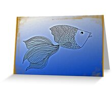 Fish in Deep Blue, line drawing Greeting Card