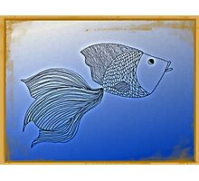 Fish in Deep Blue, line drawing Photographic Print