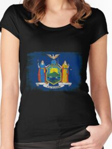 New York State Flag Distressed Vintage Women's Fitted Scoop T-Shirt