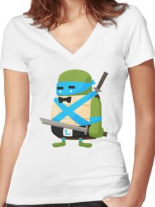 Leonardo in Disguise Women's Fitted V-Neck T-Shirt