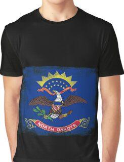 North Dakota State Flag Distressed Vintage Graphic T-Shirt