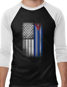 Cuban American Flag - Half Cuban Half American Men's Baseball ¾ T-Shirt