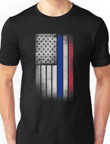 French American Flag - Half French Half American Unisex T-Shirt