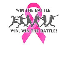 Win the Battle Softball Breast Cancer Support Ribbon Photographic Print