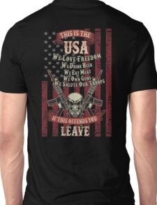 This is the USA We love freedom We own guns Unisex T-Shirt