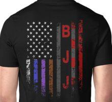 Brazilian JiuJitsu Rank on American Flag behind printed shirt Unisex T-Shirt