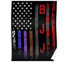 Brazilian JiuJitsu Rank on American Flag behind printed shirt Poster
