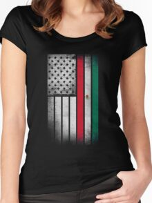 Mexican American Flag - Half Mexican Half American  Women's Fitted Scoop T-Shirt