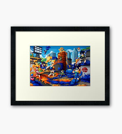 Super Splat Bros Framed Print