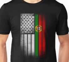 Portugese American Flag - Half Portugese Half Unisex T-Shirt