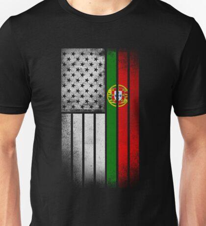 Portugese American Flag - Half Portugese Half Unisex T-Shirt