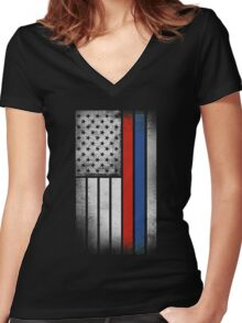 Russian American Flag - Half Russian Half American Women's Fitted V-Neck T-Shirt