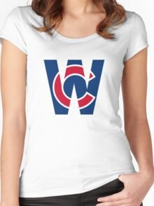 Cubs W Chicago Cubs W with Red/Blue C Women's Fitted Scoop T-Shirt