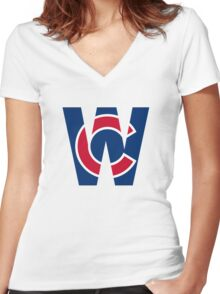 Cubs W Chicago Cubs W with Red/Blue C Women's Fitted V-Neck T-Shirt