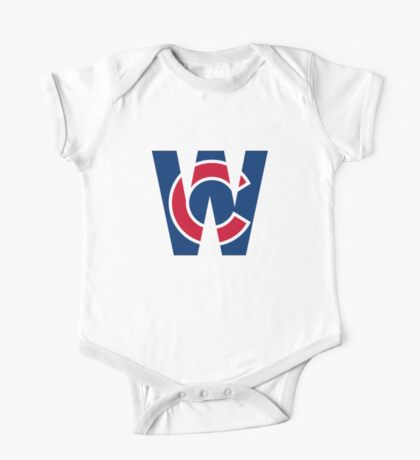 Cubs W Chicago Cubs W with Red/Blue C One Piece - Short Sleeve