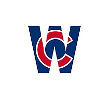 Cubs W Chicago Cubs W with Red/Blue C Photographic Print