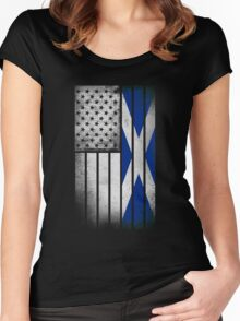 Scottish American Flag - Half Scottish Half American Women's Fitted Scoop T-Shirt
