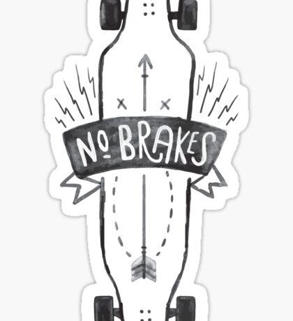 No Brakes Longboard Skater Skateboard  Sticker