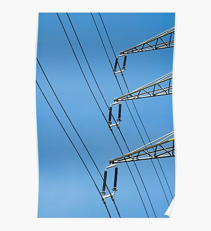 A high power electric line and pole with a blue sky background  Poster