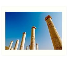 Israel, Bet Shean ancient columns found on the site,  Art Print