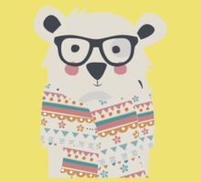 Cute polar bear with glasses and scarf Kids Tee