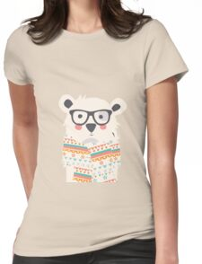 Cute polar bear with glasses and scarf Womens Fitted T-Shirt