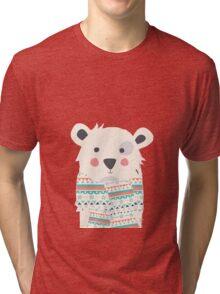 Cute polar bear with scarf Tri-blend T-Shirt