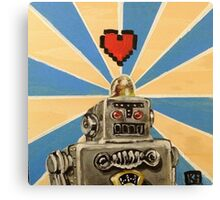 Tin Robot :: 8 Bit Love Machine Canvas Print